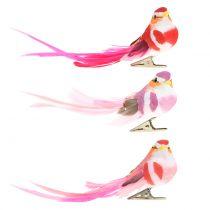 Pájaro en Clip Rosa, Rosa 15cm 12pcs