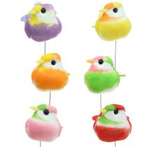 Pájaros en el alambre colorido 8cm 12pcs