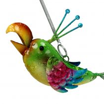 Pájaro para colgar verde, rosa, azul 19.5cm