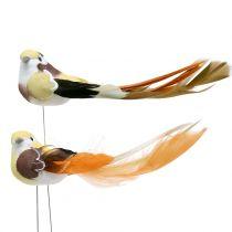 Pájaro en el cable Marrón / Naranja 14cm 12pcs