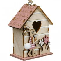 Casa de pájaros para colgar, resorte, casa de pájaros decorativa con conejito, decoración de Pascua 4 piezas