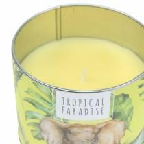 Vela perfumada en una lata de la selva amarilla Ø9.5cm H8cm