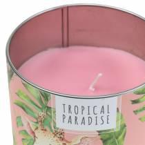 Vela perfumada en un bosque de hojalata rosa Ø9.5cm H8cm