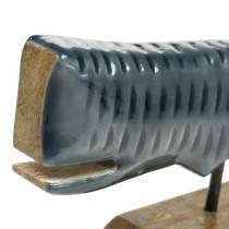 Ballena decorativa de madera con base gris, natural 26cm