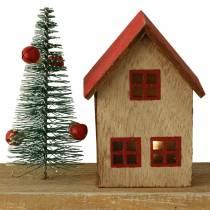 Pueblo navideño con iluminación LED natural, madera roja 40 × 10,5 × 7cm
