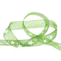 Cinta de navidad verde con estampado de estrellas 25mm 20m