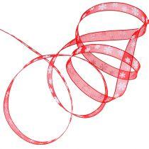 Cinta de navidad roja con copo de nieve 10mm 20m