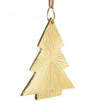 Arbol de navidad metal dorado 8x10cm para colgar 3ud.