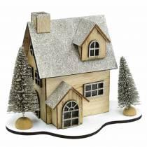 Casa navideña con iluminación LED natural, madera brillante 20 × 17 × 15cm
