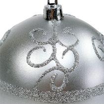 Bola de navidad plata Ø8cm plástico 1pc