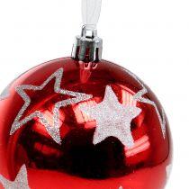 Bolas de navidad con estrellas en rojo 2pcs Ø8cm