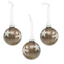 Bola de Navidad de cristal con diseño de estrella marrón claro Ø6cm 6 piezas