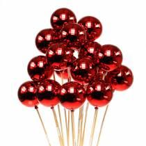 Bola de Navidad en palo Ø6cm rojo 18pcs
