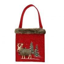 Bolso navideño rojo con pelo 15,5cm x 18cm 3pcs