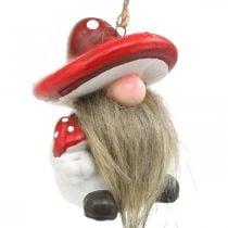 Cerámica de duendecillos decorativos para colgar con sombrero de setas rojo, blanco Al8cm 4ud