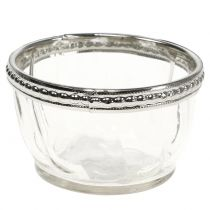 Candelita de vidrio antiguo con borde de metal Ø7cm H4cm
