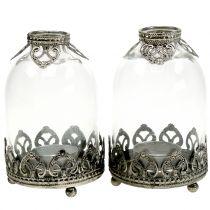 Linterna de cristal candelita Vintage Ø8,5cm H14cm 2pcs