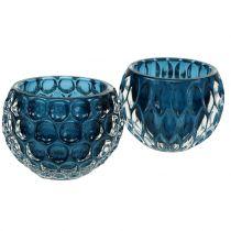 Linternas de vidrio Azul Oscuro Ø8cm H6cm 2pcs