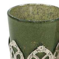 Linterna vidrio metal decoración verde lila Ø5.5cm H5.5cm 4pcs