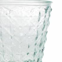 Farol de cristal con base transparente Ø13,5cm H18cm decoración de mesa exterior