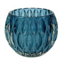 Farol de cristal azul oscuro Ø11,5cm H9cm