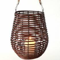 Farol decorativo, decoración de velas con asa, farol en la cesta Ø23cm H27cm