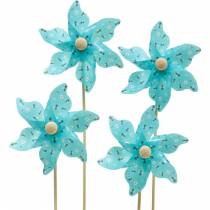 Molino de viento molinillo abejas turquesa Ø8.5cm decoración de verano jardín 12pcs
