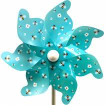 Molinete abejas turquesa Ø31cm campanas de viento molino decoración jardín