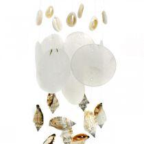 Campanas de viento con conchas de capiz, decoración marítima, colgador de decoración conchas de caracol L35 Ø8cm