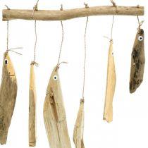 Decoración de peces marítimos, campanas de viento de madera flotante, decoración de madera L50cm W30cm