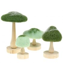 Hongo decorativo / fieltro verde 8cm - 15cm 4pcs