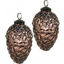 Conos para colgar, adornos para árboles, cristal auténtico, adornos otoñales, ópticas antiguas Ø7cm H11.5cm 6ud