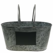 Jardinera de bañera de zinc con asas ovales grises Al.20cm
