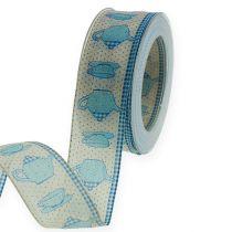 Cinta decorativa con alambre Azul 40mm 20m