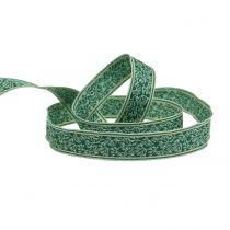 Cinta de regalo berry bush jacquard con borde de alambre verde oscuro, Mint 25mm L15m