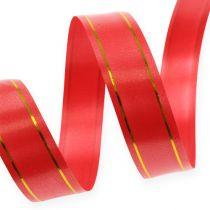 Cinta de regalo 2 franjas doradas en rojo 19mm 100m