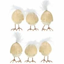Polluelo con cáscara de huevo blanco, crema 6cm 6pcs