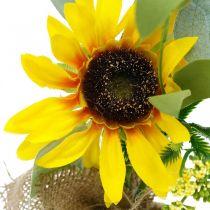 Girasol artificial, flor de seda, decoración de verano, girasol en un saco de yute