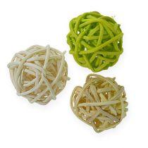 Rattanball verde claro, verde pálido, blanqueado 72 piezas