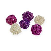 Bola de ratán lila, violeta, blanqueada 72 piezas