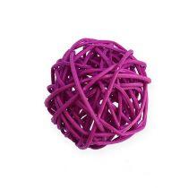 Bola de ratán lila, púrpura, blanqueada Ø4,5cm 30pcs
