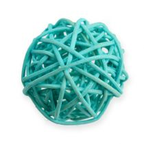 Bola de ratán azul, turquesa, blanqueada 30 piezas