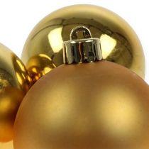 Bola navideña plastico dorado 6cm 12pcs