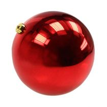 Bola navideña mediana plástico rojo 20cm