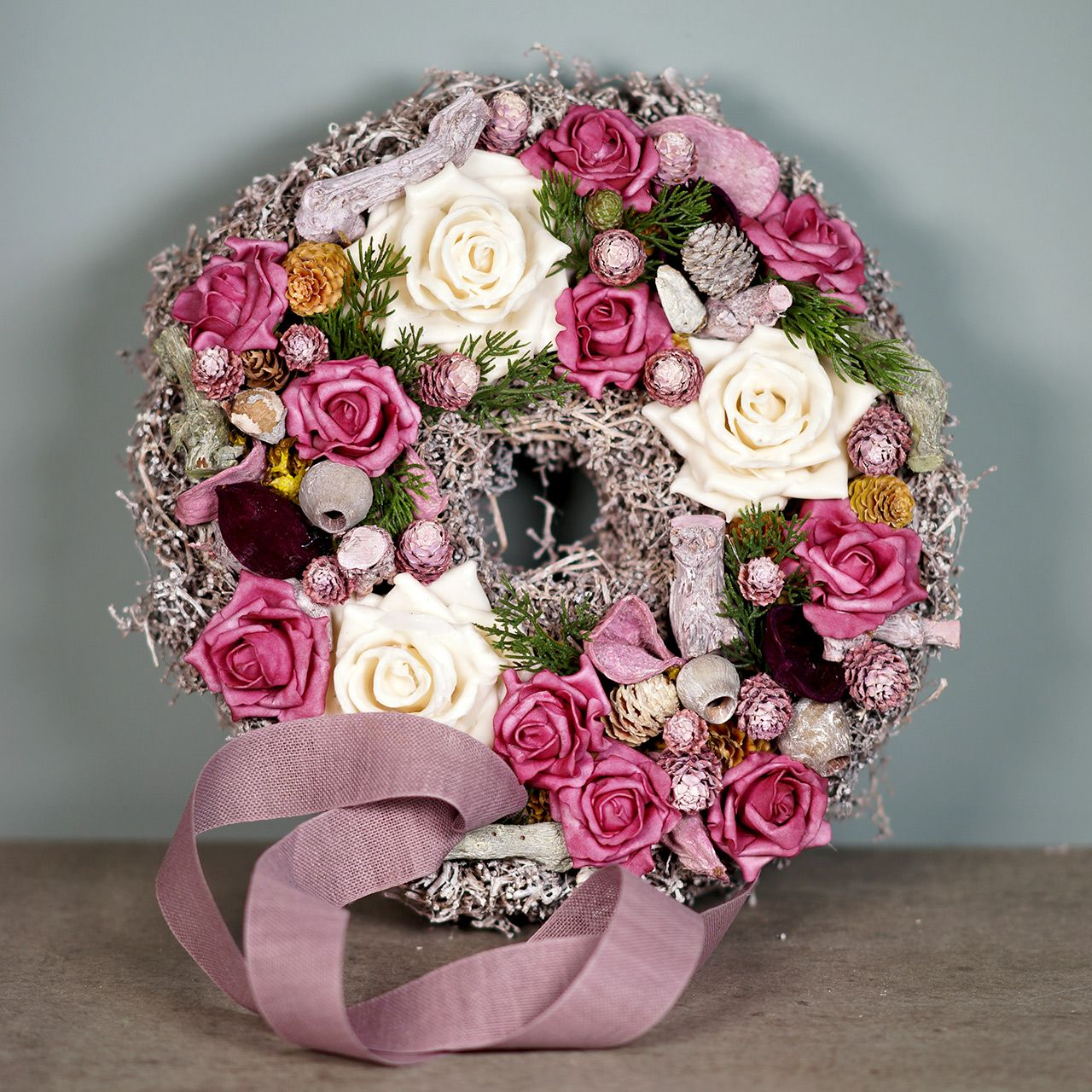 Espuma de espuma de rosa color rosa Ø15cm 4 piezas