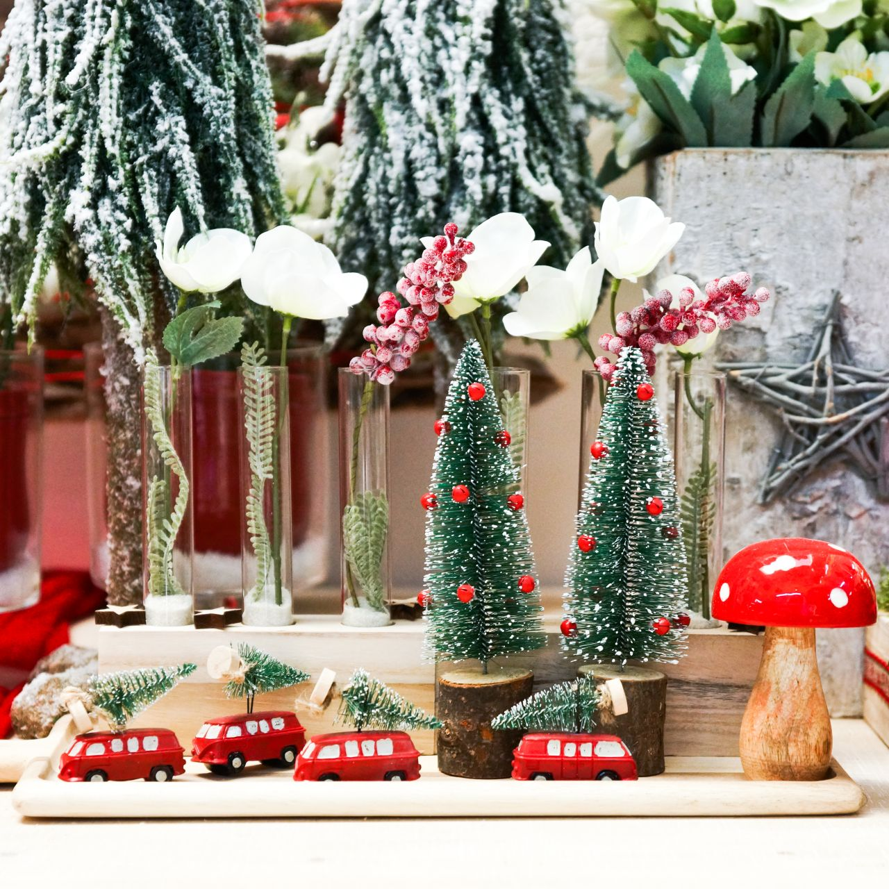 Decoración de árbol de Navidad Coche con abeto Rojo / verde 2 piezas