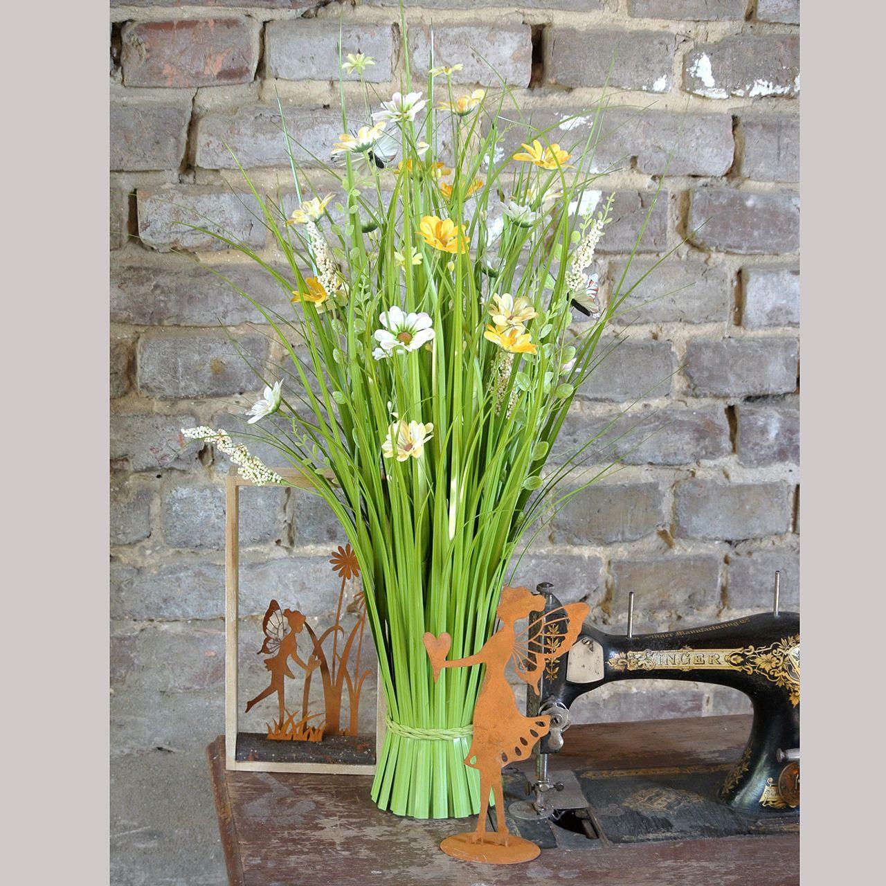 Hierbas artificiales con flores y mariposas Naranja 70cm