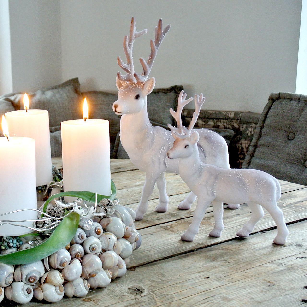 Ciervo decorativo flocado / nevado 27.5cm 2pcs