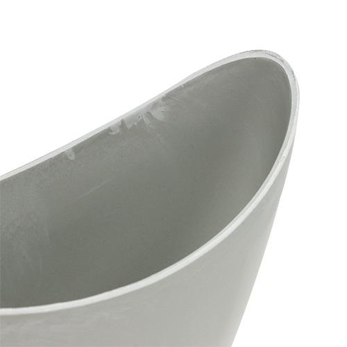 Cuenco decorativo plástico gris 20cm x 9cm H11,5cm, 1 pieza