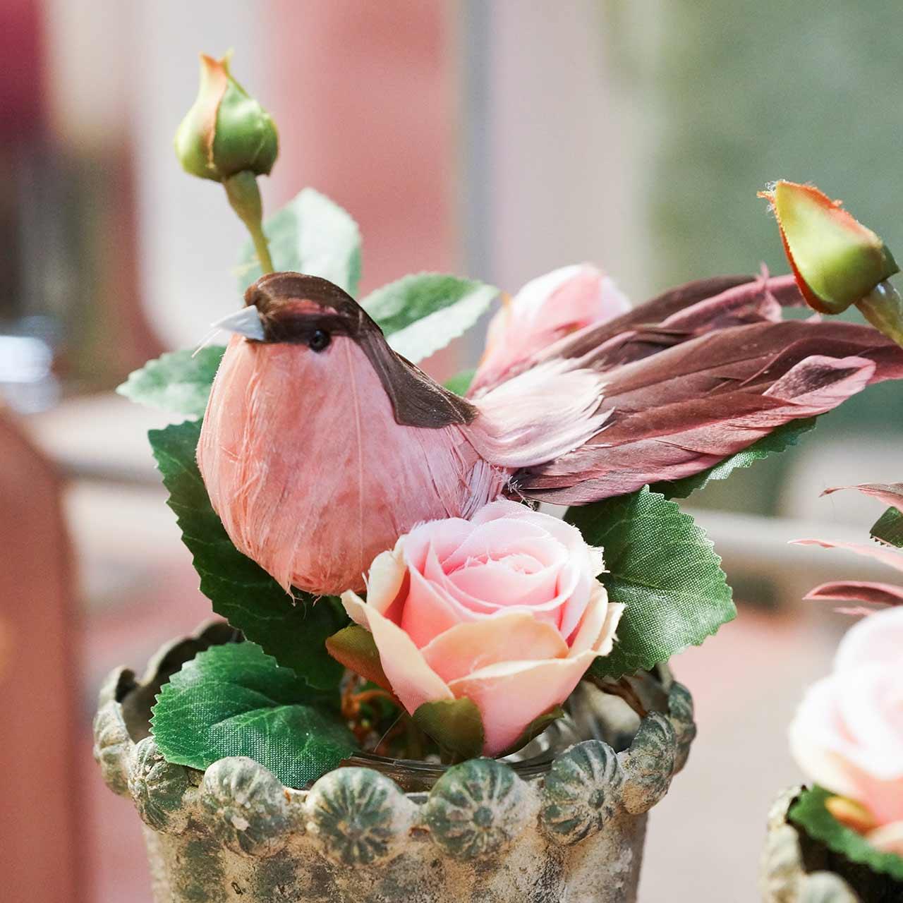 Pluma pájaro sobre alambre rosa 12cm 4pcs